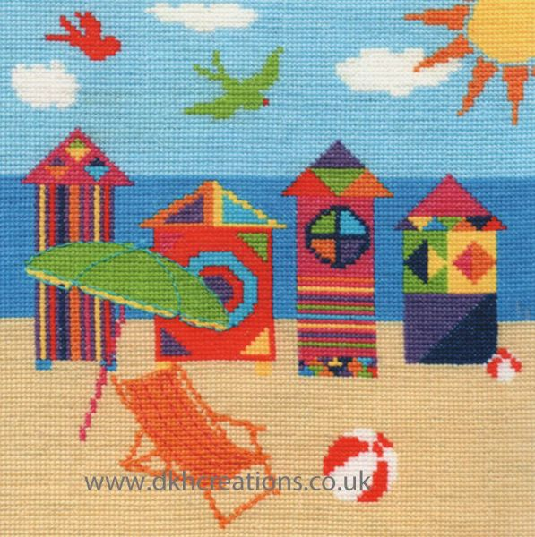 Bright Beach Huts Cross Stitch Kit
